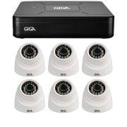 Kit 6 Câmeras de Segurança 1MP HD 720p Giga Security GS0012 + DVR HD 720p 4 em 1 Giga Security + Acessórios