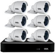 Kit 6 Câmeras Full HD + DVR Giga Security + App Grátis de Monitoramento, Câmeras GS0273 1080p 30m Infravermelho de Visão Noturna + Fonte, Cabos e Acessórios