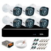 Kit 6 Câmeras de Segurança Full HD 1080p Giga Security gs0271  + DVR Giga Security 2MP + Acessórios
