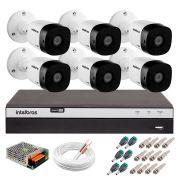 Kit 6 Câmeras de Segurança Full HD 1080p Intelbras VHD 1220B IR + DVR Intelbras Full HD 8 Ch + Acessórios