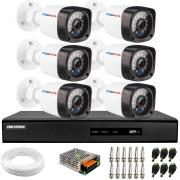 Kit 6 Câmeras de Segurança Full HD 1080p Lite 20 Metros Infravermelho + DVR Hikvision + HD + Cabos e Acessórios