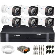 Kit 6 Câmeras de Segurança Full HD 1080p Lite 20 Metros Infravermelho + DVR Intelbras + HD + Cabos e Acessórios
