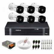Kit 6 Câmeras de Segurança Full HD 1080p VHD 1220 B G6 + DVR Intelbras MHDX 1108 de 8 Canais 1080p Lite + Acessórios