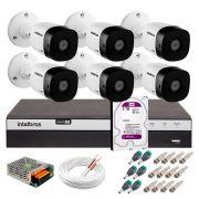 Kit 6 Câmeras de Segurança Full HD 1080p VHD 1220B IR + DVR Intelbras Full HD + HD WD Purple 2TB + Acessórios