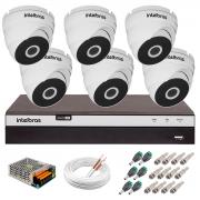 Kit 6 Câmeras VHD 3220 D G5 + DVR Intelbras + App Grátis de Monitoramento, Câmeras Full HD 1080p 20m Infravermelho de Visão Noturna Intelbras + Fonte, Cabos e Acessórios