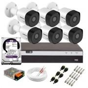 Kit 6 Câmeras de Segurança Full HD 1080p VHD 3230 B G6 + DVR Intelbras MHDX 3108 Full HD de 08 Canais + 1 HD Interno WD Purple 2TB Surveillance SATA III + Acessórios