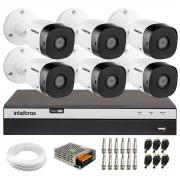 Kit 6 Câmeras de Segurança Full HD Intelbras VHD 1220 B G6 + DVR Intelbras Full HD MHDX 3108 + Acessórios