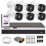Kit 6 Câmeras de Segurança Full HD Intelbras VHD 1220 B G6 + DVR Intelbras Full HD MHDX 3108 + HD 1TB + Acessórios