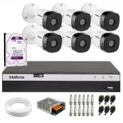 Kit 6 Câmeras de Segurança Full HD Intelbras VHD 1220 B G6 + DVR Intelbras Full HD MHDX 3108 + HD 2TB + Acessórios