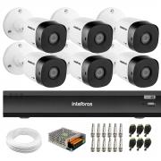 Kit 6 Câmeras de Segurança Full HD Intelbras VHD 1220 B G6 + Gravador iMHDX 3008 8 Canais + Acessórios