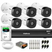 Kit 6 Câmeras de Segurança Full HD Intelbras VHD 1220 B G6 + Gravador iMHDX 3008 8 Canais + HD 1TB