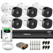Kit 6 Câmeras de Segurança Full HD Intelbras VHD 1220 B G6 + Gravador iMHDX 3008 8 Canais + HD 2TB