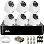 Kit 6 Câmeras de Segurança HD 720p Giga GS0019 Orion + DVR Giga Security + Acessórios