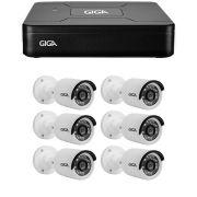 Kit 6 Câmeras de Segurança HD 720p Giga Security GS0013  + DVR Giga Security Multi HD + Acessórios