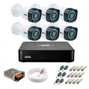 Kit 6 Câmeras de Segurança HD 720p Giga Security GS0018  + DVR Giga Security Multi HD + Acessórios