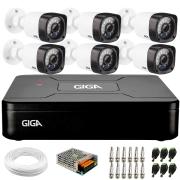 Kit 6 Câmeras de Segurança HD 720p Giga Security GS0018  + DVR Giga Security + Acessórios