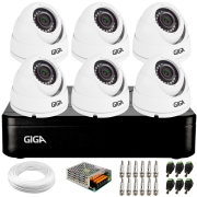 Kit 6 Câmeras de Segurança HD 720p Giga Security GS0021 + DVR Giga Security + Acessórios