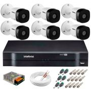 Kit 6 Câmeras VHD 1120 B G5 + DVR Intelbras + App Grátis de Monitoramento, Câmeras HD 720p 20m Infravermelho de Visão Noturna Intelbras + Fonte, Cabos e Acessórios