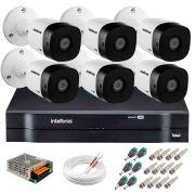 Kit 6 Câmeras VHD 3120 B G5 + DVR Intelbras + App Grátis de Monitoramento, Câmeras HD 720p 20m Infravermelho de Visão Noturna Intelbras + Fonte, Cabos e Acessórios