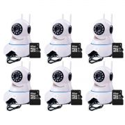 Kit 6 Câmeras de Segurança IP Sem Fio Wifi HD 720p Robo Wireless + Cartão SD de Armazenamento 16GB