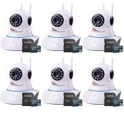 Kit 6 Câmeras de Segurança IP Sem Fio Wifi HD 720p Robo Wireless + Cartão SD de Armazenamento 32GB