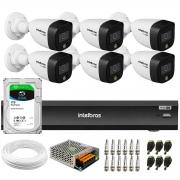 Kit 6 Câmeras de Segurança VHD 1220 B Full Color Full HD 1080p + Gravador iMHDX 3008 8 Canais + HD 1TB