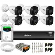 Kit 6 Câmeras de Segurança VHD 1220 B Full Color Full HD 1080p + Gravador iMHDX 3008 8 Canais + HD 2TB