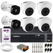 Kit 6 Câmeras de Segurança VHD 1010 Dome + VHD 1010 Bullet, HD 720p 1MP - Lente 3.6 mm + DVR MHDX 1108 + HD 1TB Purple + APP Grátis de Monitoramento