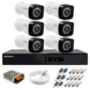 Kit 6 Câmeras + DVR Hikvision + App de Monitoramento, Câmeras Full HD 1080 Lite 25m Infravermelho de Visão Noturna Tudo Forte Completo com Acessórios