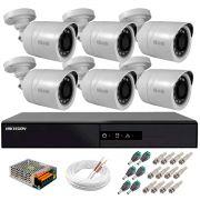 Kit 6 Câmeras + DVR Hikvision + Fonte, Cabos e Acessórios - Câmeras Hilook THC B120C-P Full HD 1080 Lite 20m Infra e Visão Noturna