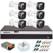 Kit 06 Câmeras Full HD 1080p 20m Infravermelho de Visão Noturna + DVR Intelbras + App Grátis de Monitoramento + Fonte, Cabos e Acessórios