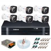 Kit 6 Câmeras HD 720p 20m Infravermelho de Visão Noturna + DVR Intelbras + App Grátis de Monitoramento + Fonte, Cabos e Acessórios