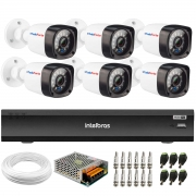 Kit 6 Câmeras Full HD 1080p 20m Infravermelho de Visão Noturna + DVR Intelbras iMHDX 3008 + Acessórios