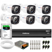Kit 6 Câmeras Full HD 1080p 20m Infravermelho de Visão Noturna + DVR Intelbras iMHDX 3008 + HD 1TB