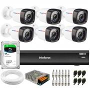 Kit 6 Câmeras Full HD 1080p 20m Infravermelho de Visão Noturna + DVR Intelbras iMHDX 3008 + HD 2TB