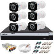 Kit 6 Câmeras + DVR Intelbras + App Grátis de Monitoramento, Câmeras Full HD 1080p 20m Infravermelho de Visão Noturna + Fonte, Cabos e Acessórios