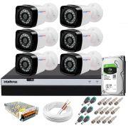 Kit 6 Câmeras + DVR Intelbras + HD 1 TB + App de Monitoramento, Câmeras Full HD 1080p 20m Infravermelho de Visão Noturna + Fonte, Cabos e Acessórios