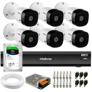 Kit 6 Câmeras Intelbras Bullet VHD 1420 B G6 4MP 2K Quad HD + Gravador de Vídeo Digital Com Inteligência Artificial iMHDX 3008 8 Canais + HD 1TB