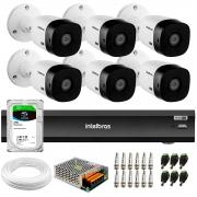 Kit 6 Câmeras Intelbras Bullet VHD 1420 B G6 4MP 2K Quad HD + Gravador de Vídeo Digital Com Inteligência Artificial iMHDX 3008 8 Canais + HD 2TB