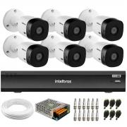 Kit 6 Câmeras Intelbras Bullet VHD 1420 B G6 4MP 2K Quad HD, Visão Noturna 20 metros Gravador de Vídeo Digital Com Inteligência Artificial iMHDX 3008 8 Canais + Acessórios
