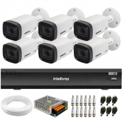 Kit 6 Câmeras Intelbras Varifocal Multi HD VHD 3240 VF G6 IP67 IR 40m + Gravador iMHDX 3008 8 Canais + Acessórios