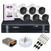 Kit 6 Câmeras Intelbras VHD 3230 B G6 Full HD 1080 Lite + DVR Intelbras + Acessórios Completo - Câmeras com 30m Infravermelho de Visão Noturna