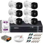 Kit 6 Câmeras Intelbras VHL 1220 B Full HD 1080 Lite + DVR Intelbras + Acessórios Completo - Câmeras com 20m Infravermelho de Visão Noturna