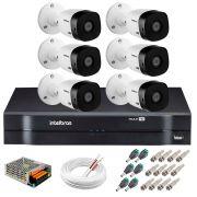 Kit 6 Câmeras Intelbras VHL 1220 B Full HD 1080 Lite + DVR Intelbras - Câmeras com 20m Infravermelho de Visão Noturna + Fonte, Cabos e Acessórios