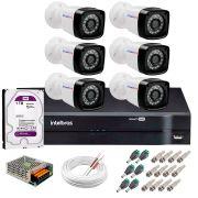 Kit 6 Câmeras Tudo Forte Full HD 1080 Lite + DVR Intelbras + Acessórios Completo - Câmeras com 25m Infravermelho de Visão Noturna