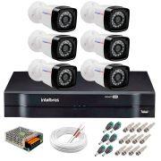 Kit 6 Câmeras Tudo Forte Full HD 1080 Lite + DVR Intelbras - Câmeras com 25m Infravermelho de Visão Noturna + Fonte, Cabos e Acessórios