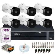 Kit 6 Câmeras VHD 1010 B G6 + DVR Intelbras + HD 1TB para Armazenamento + App Grátis de Monitoramento, Câmeras HD 720p 10m Infravermelho de Visão Noturna Intelbras + Fonte, Cabos e Acessórios