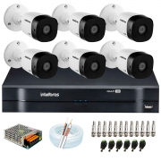 Kit 6 Câmeras VHD 1010 B G6 + DVR Intelbras +  App Grátis de Monitoramento, Câmeras HD 720p 10m Infravermelho de Visão Noturna Intelbras + Fonte, Cabos e Acessórios