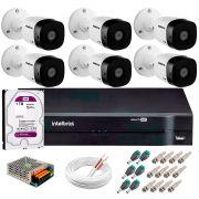 Kit 6 Câmeras VHD 1120 B G5 + DVR Intelbras + HD 1TB para Armazenamento + App Grátis de Monitoramento, Câmeras HD 720p 20m Infravermelho de Visão Noturna Intelbras + Fonte, Cabos e Acessórios
