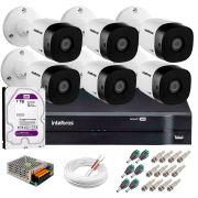 Kit 6 Câmeras VHD 3120 B G5 + DVR Intelbras + HD 1TB para Armazenamento + App Grátis de Monitoramento, Câmeras HD 720p 20m Infravermelho de Visão Noturna Intelbras + Fonte, Cabos e Acessórios